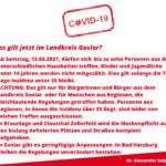 Spezifische Corona-Regeln im Landkreis Goslar